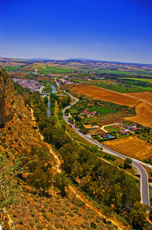 Aerial view of a part of Ronda, a small town in the province of Cadiz