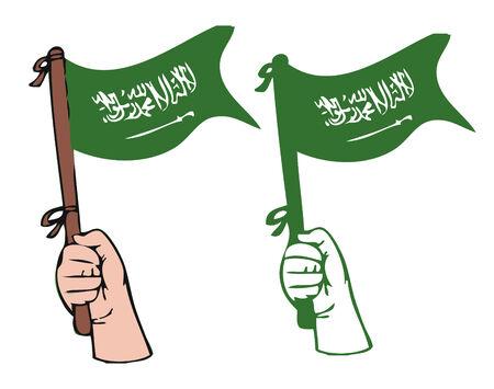 muhammed: Hand waving Saudi Arabia flag Illustration