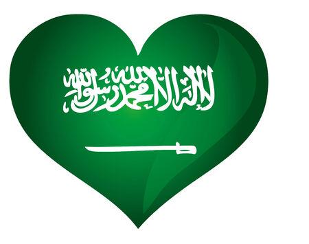 Heart shape Saudi Arabia flag Illusztráció