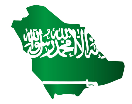 mohammed: Map shape Saudi Arabia flag Illustration