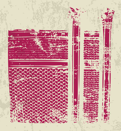 rode shmagh Arabische sjaal patroon grungy effect Stock Illustratie