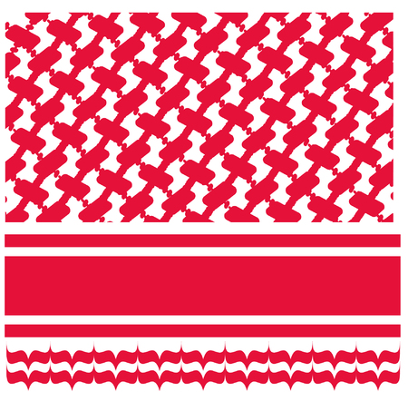 赤 shmagh アラブ スカーフ パターン  イラスト・ベクター素材