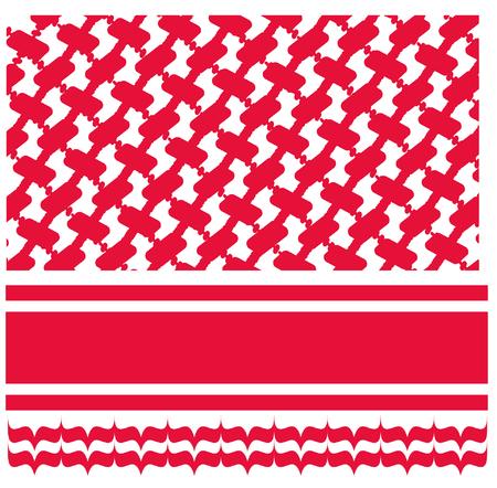 빨간색 shmagh 아랍 머리 스카프 패턴 일러스트
