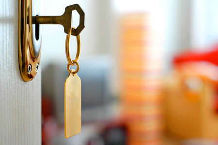 hotel door: key keyring lock door and colorfully background