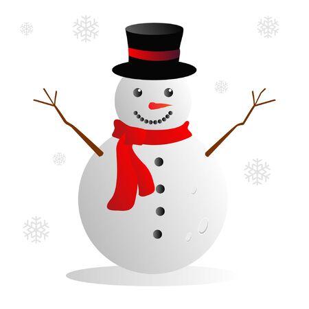 Snowman Happy New Year Conceptual Design Vector Illustrator Illustration