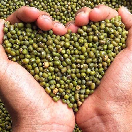 hand full of beans shaping love