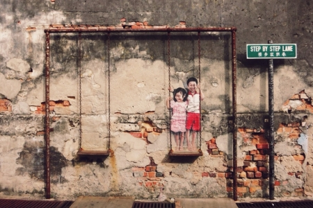 malaysia culture: Mural painting penang building