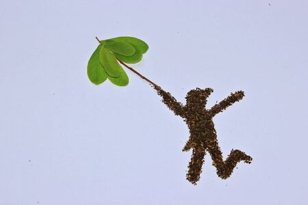 Freedom jump, deco by leave  Stock Photo