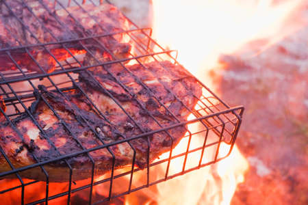 Cooking chicken meat over charcoal. Chicken meat fried with a crust on a wire rack during grill cooking. Backlight from a burning fire and smoke in the late evening. Banque d'images