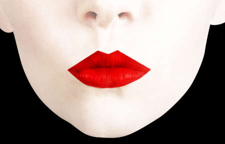 emphasised: Woman�s face with over emphasised red lips