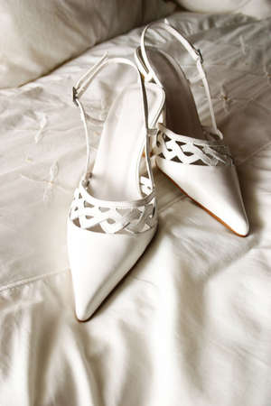 high heeled: ladies pointed high heeled detailed white leather shoes