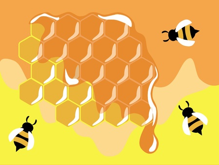 useful: Three funny bees on honeycells