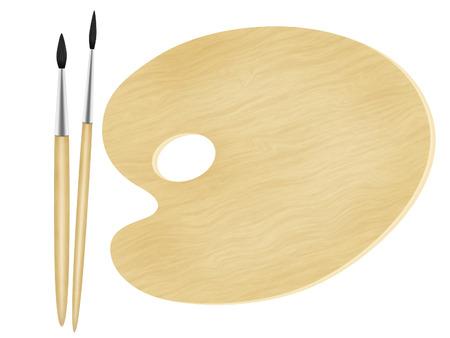 palet: paleta de pintor y dos cepillos