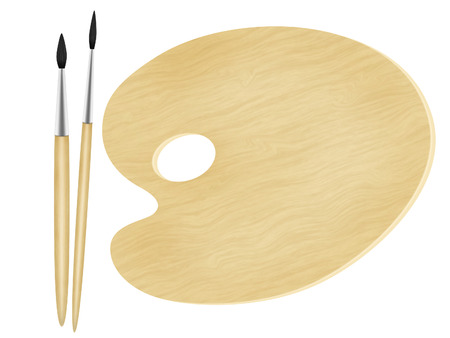 the pallet: paleta de pintor y dos cepillos