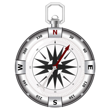 northeast: Silver compass for travels and outdoorsman