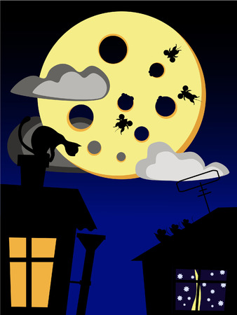house mouse: Cat, mouse and cheese moon