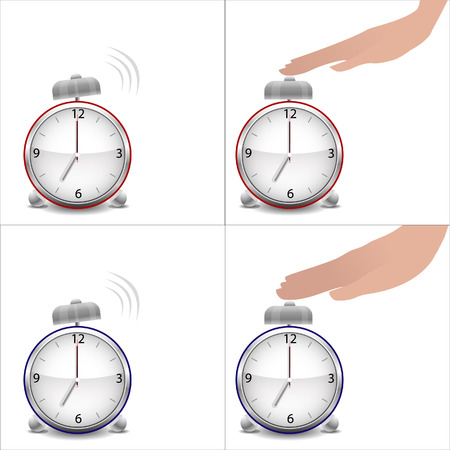 stopped: Boy and girl hands and stopped alarm clock Illustration