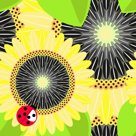 ladybug: Big sunflowers and ladybug seamless background