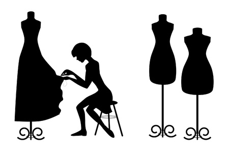 mannequin: Silhouettes designer and mannequins on white