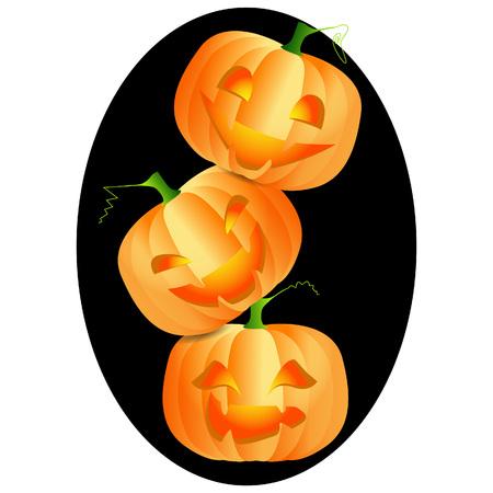 smilling: Three bright and ripe pumpkins on black frame