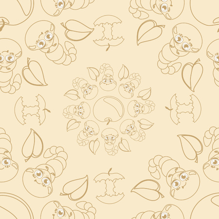 apple core: Funny caterpallars seamless pattern