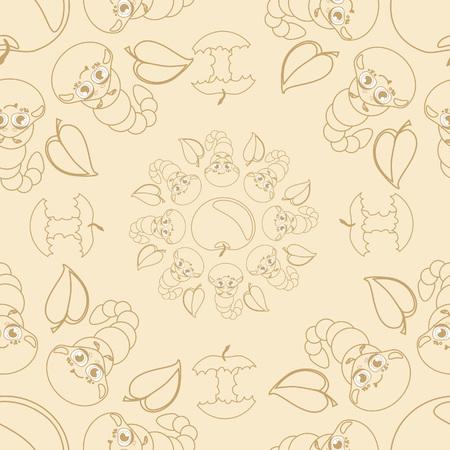 apple core: Funny caterpallars seamless pattern