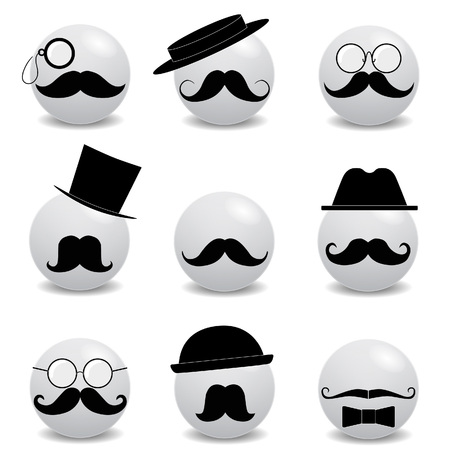 mainstream: Hipster white smilies with mustache on white Illustration
