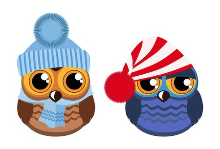 funny: Two funny owls on white Illustration