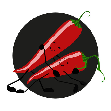 hot couple: Pepper passionate tango Illustration