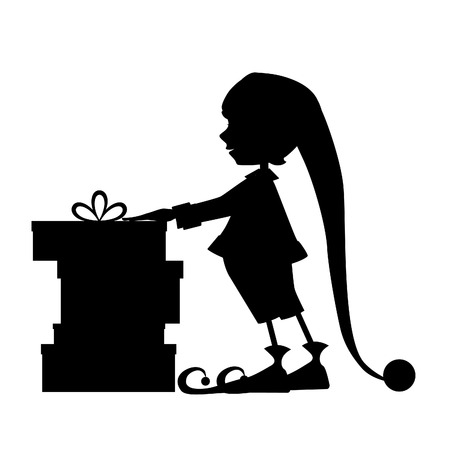 elf cartoon: Elf silhouette and christmas gifts