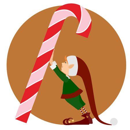 elf christmas: Christmas Elf and a big christmas candy