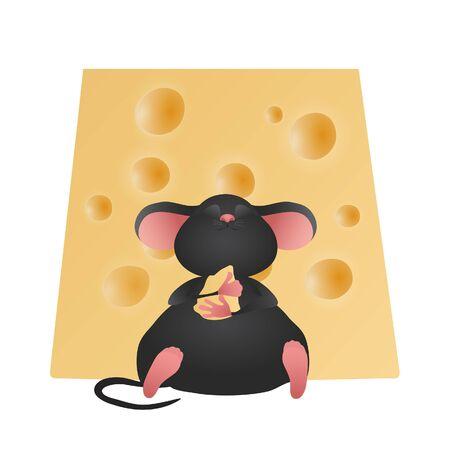 rata caricatura: Queso y rat�n feliz