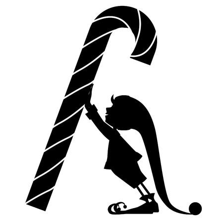 Het silhouet van Elf en een grote snoep op wit Stock Illustratie