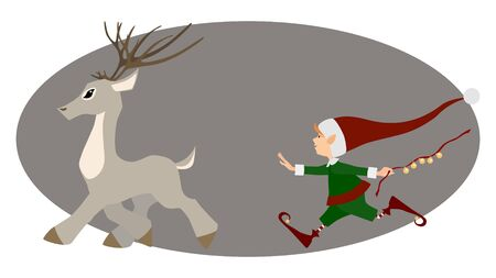 runing: Runing deer and cute Christmas elf for decoration