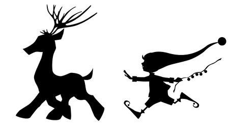 elves: Black silhouette running deer and cute Christmas elf on white Illustration