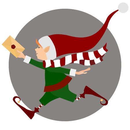 Runing Christmas elf with letter (envelope)