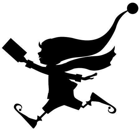 helper: silhouette of runing Christmas elf with letter (envelope) Illustration