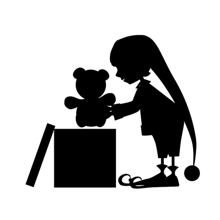 Christamas cute elf silhouette with gift (bear)