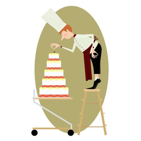 pasteles: chef de repostería y un gran pastel de varios pisos en el marco oval Vectores