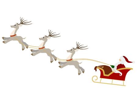 papa noel en trineo: Aislado de Santa Claus con bolsa de regalo y trineo de renos de Navidad Vectores