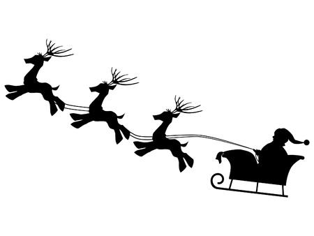 gift bag: Isolated Santa Claus with gift bag and reindeer sled Christmas
