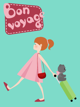 voyage: Cute girl with suitcase, toy bear and Bon Voyage Illustration