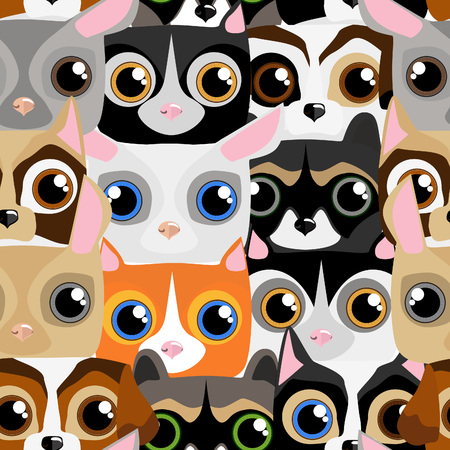 defenseless: Seamless pattern with little cute and funny pets for background