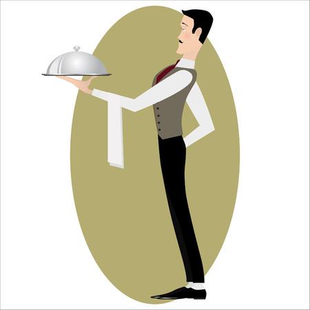 steward: Elegant slim waiter with a serving silver dish