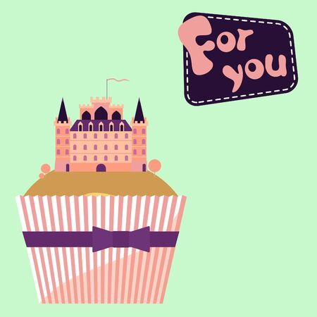 amor: Valentine vector decor with cute cupcake and toy castle
