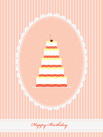 birthday cards: Stylish vintage Birthday greeting card with funny cupcake and cherry Illustration