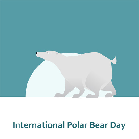 tundra: International Polar Bear Day and White bear in the sunlight Illustration