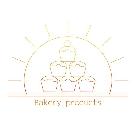 mono: Bakery product mono line with cupcakes and sun