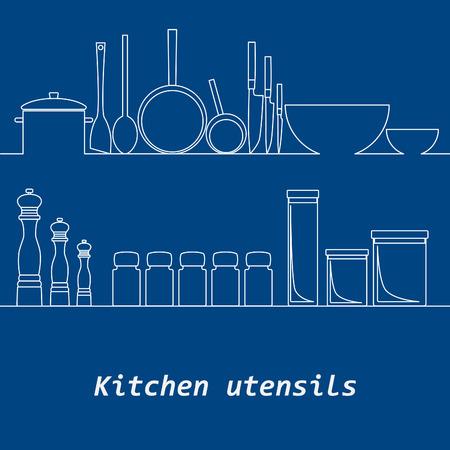 mono: Kitchen mono line kitchen tools silhouette. Background.