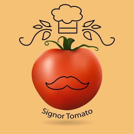 mono: illustration of red tomato and funny mono line